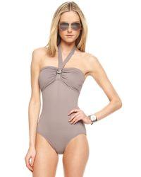 Michael Kors | Gray Bandeau Halter Swimsuit | Lyst