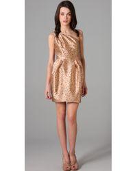 Porter Grey | Metallic Print One Shoulder Dress | Lyst