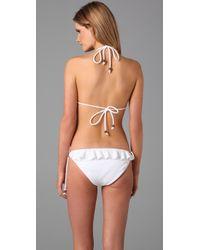 Shoshanna - White Textured Ruffle Bikini Top - Lyst