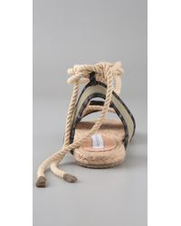 Charlotte Ronson | Green Canvas Espadrille Flat Sandals | Lyst
