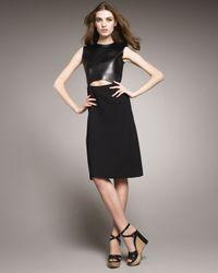 Chloé | Black Cutout Leather-bodice Dress | Lyst