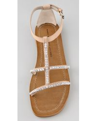 Marc By Marc Jacobs | Natural Rhinestone Flat Sandals | Lyst