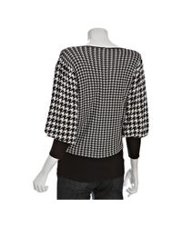 Rosel | Black Houndstooth Knit V-neck Sweater | Lyst