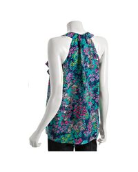 Shoshanna | Blue Navy Silk Chiffon Urban Garden Print Cascade Ruffle Top | Lyst
