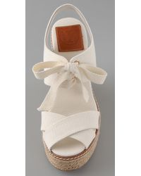 Tory Burch - White Lace Up Wedge Espadrilles - Lyst