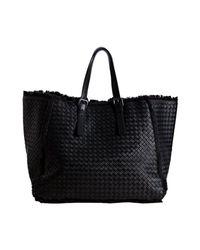 Bottega Veneta - Black Basketwoven Leather Maltinto Fringe Trim Tote - Lyst