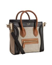 Céline | Brown Natural Canvas Leather Detail Nano Luggage Mini Crossbody Tote | Lyst