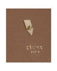 Céline - Brown Tan Pebbled Leather Zipped Shopper Tote - Lyst