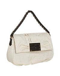 Fendi | White Zucca Canvas Chain Shoulder Bag | Lyst