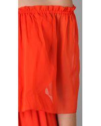 Halston - Orange Off Shoulder Cocktail Dress - Lyst