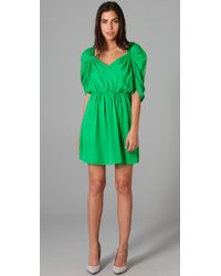 Halston | Green Deep V Dolman Dress | Lyst