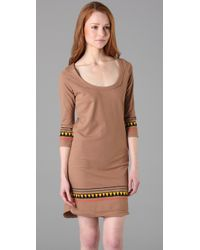 Monrow | Brown Rasta Stripe Dress | Lyst