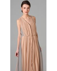Porter Grey - Natural Pleated Long Dress - Lyst