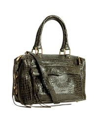 Rebecca Minkoff | Gray Grey Croc Embossed Mab Mini Bag with Strap | Lyst