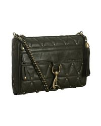 Rebecca Minkoff - Green Dark Olive Quilted Leather Mac Studded Crossbody Clutch - Lyst