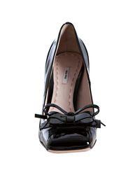 Miu Miu - Black Patent Leather Bow Detail Pumps - Lyst