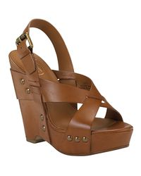 Ash | Lucy - Natural Leather Wedge Sandal | Lyst