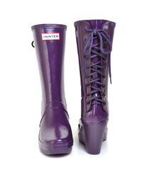 Hunter | Verbier - Purple Rubber Lace-up Rain Boot | Lyst