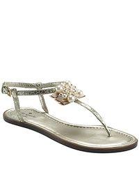 kate spade new york | Metallic Hedy - Platinum Embellished Flat Sandal | Lyst