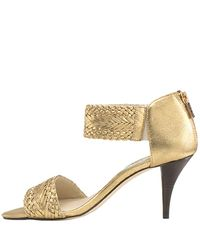 MICHAEL Michael Kors | Juniper - Bronze Metallic Leather Woven Sandal | Lyst