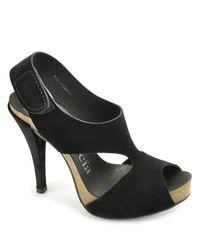 Pedro Garcia - Patty - Black Suede Cork Platform Sandal - Lyst