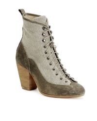 Rag & Bone - Natural Suede and Canvas Combat Boots - Lyst