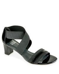 Stuart Weitzman | Midexter - Black Elastic Sandal | Lyst