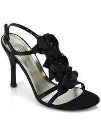 Stuart Weitzman | Jardin - Black Satin Flower Sandal | Lyst