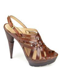 Stuart Weitzman | Brown Spray - Saddle Leather Platform Sandal | Lyst