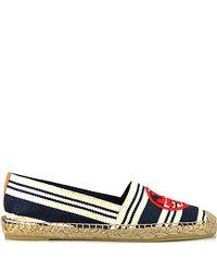 Tory Burch | Blue Aline Stripe - Navy Canvas Striped Slip-on Espadrille | Lyst