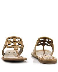 Tory Burch | Natural Square Miller Patent Leather Thong Sandals | Lyst