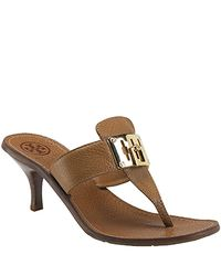 Tory Burch | Brown Sybill - Tan Kitten Heel Sandal | Lyst