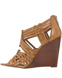 Tory Burch | Brown Tevray Woven Leather Wedge Sandals | Lyst