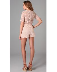 Jill Stuart | Pink Elicia Embroidered Romper | Lyst