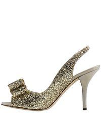 kate spade new york - Metallic Charm - Gold Glitter Peep Toe Pump - Lyst