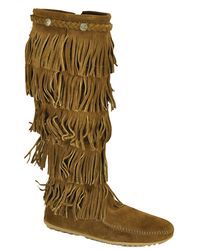 Minnetonka | Brown Suede Fringe Boot | Lyst