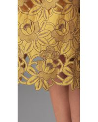 Tibi | Yellow Eyelet Strapless Dress | Lyst