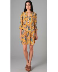 Tibi | Yellow Paisley Drop Waist Dress | Lyst