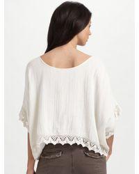 Love Sam - Natural Lace-trim Top - Lyst