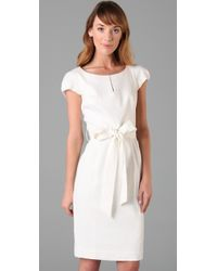 MILLY | White Haley Belted Linen-blend Dress | Lyst