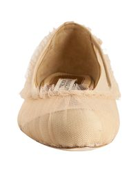 Badgley Mischka - Natural Nude Gathered Tulle Dainty Flats - Lyst