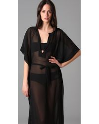 Dolce & Gabbana - Black Belted Long Caftan Cover Up - Lyst