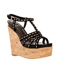 Dior   Black Antica Suede Cork Wedge Sandals   Lyst