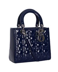 Dior | Blue Cannage Patent Lady Lambskin Tote | Lyst