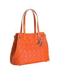 Dior | Orange Cannage Coated Canvas Panarea Small Tote | Lyst