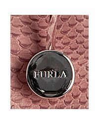 Furla - Pink Snake Embossed Leather Carmen Tote - Lyst