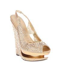Gianmarco Lorenzi | Gold Crystal Embellished Wedge | Lyst