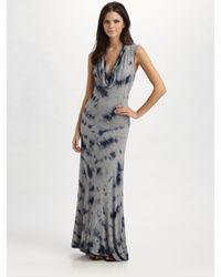 MICHAEL Michael Kors   Gray Tie-dyed Cowlneck Maxi Dress   Lyst
