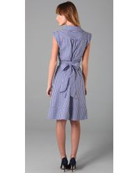 MILLY | Blue Vichy Check Wrap Weekend Dress | Lyst