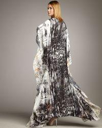 Naeem Khan - Black Abstract-print Georgette Maxi Caftan - Lyst